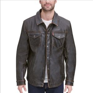 Levi's Faux Leather Brown Distressed Shirt Jacket